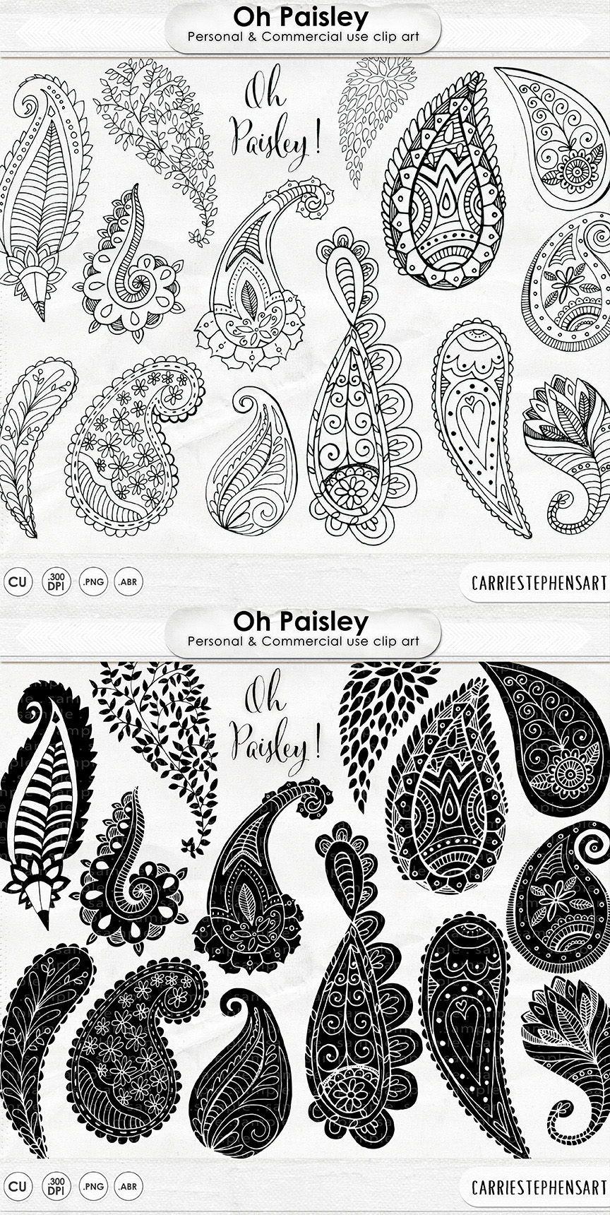 Hand Drawn Paisley Black Line Art Silhouette Decorative Clipart