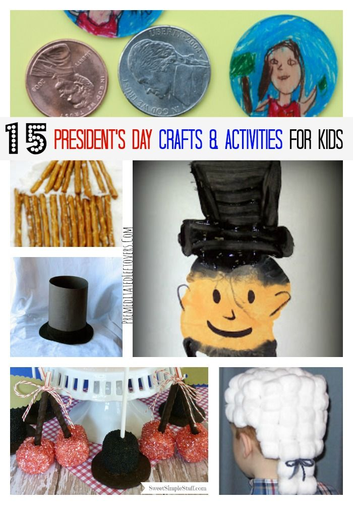 15 President's Day Crafts and Activities for Kids to help teach your children about President's Day, George Washington, and Abraham Lincoln