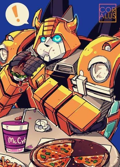 Bumblebee apparently loves cheeseburgers... No wonder I dreamed of him going to McDonalds one time! XD