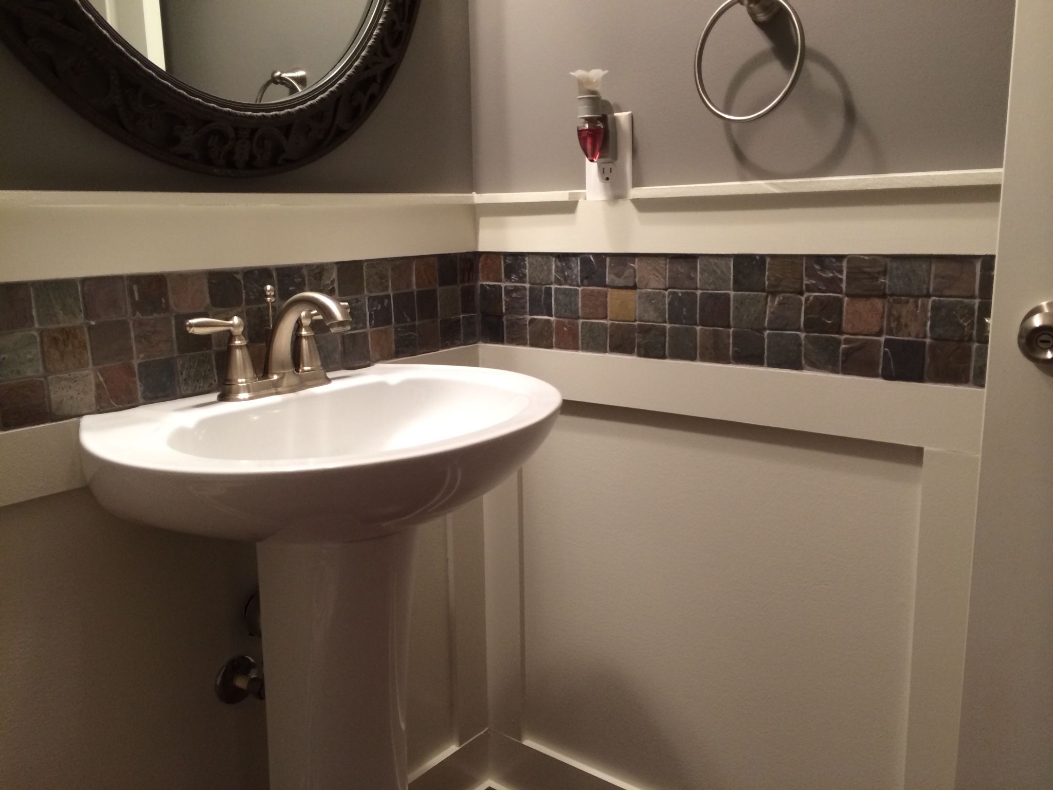 board and batten with slate tile in powder room