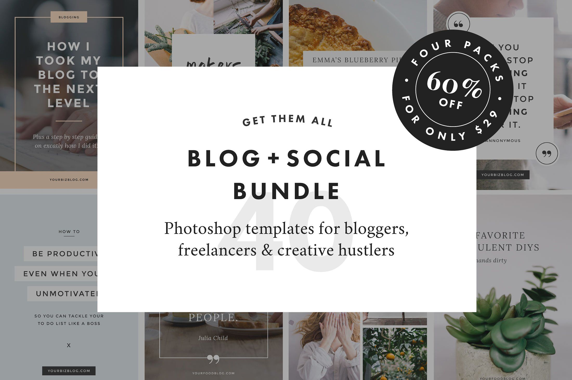 Ad: Blog + Social Bundle . These templates have been created with ...