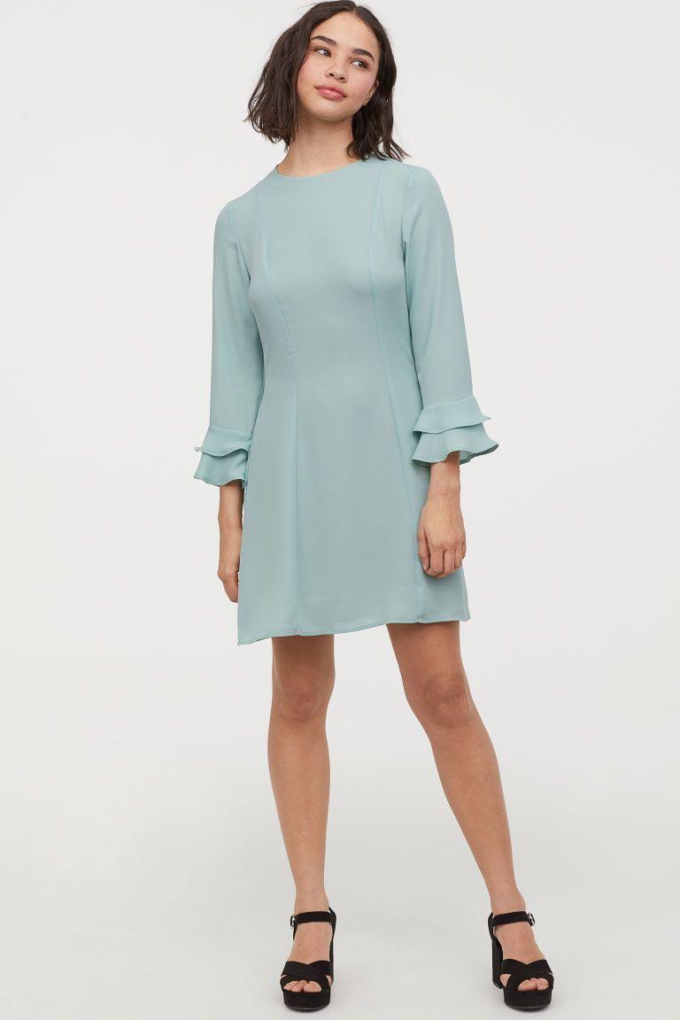 Kleid mit Volantärmeln - Schwarz - Ladies  H&M DE  Kleid mit