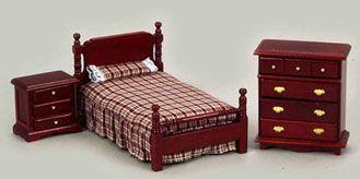Bed+Set,+Mahogany+AZT0505+[AZT0505]+-+$40.00+:+Miniature+Dollhouses+&+Doll+House+Supplies+|+Earth+&+Tree+Miniatures+&+Dollhouses