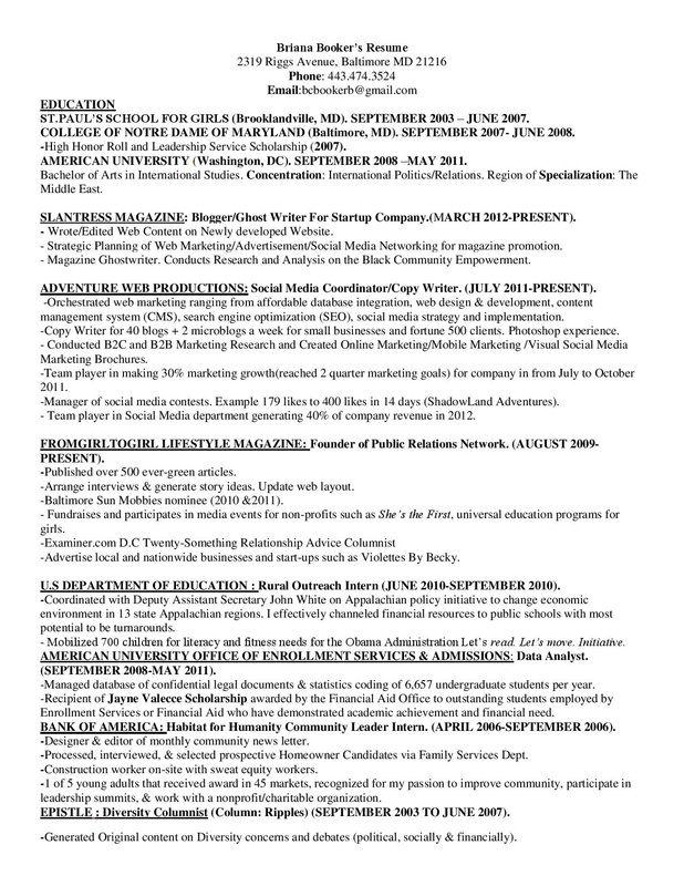 Briana Bookeru0027s Resume Spring 2013 wwwFromgirltogirl - web marketing manager sample resume