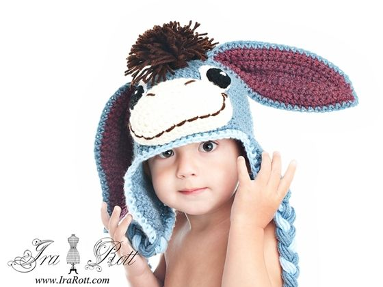 Handmade Crochet Donkey Hat hat for all ages