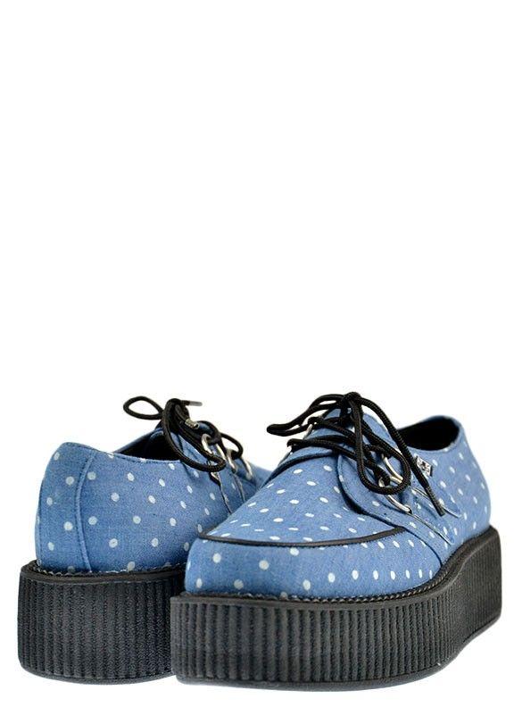 DENIM WHITE DOT MONDO CREEPER - T.U.K. Shoes - Designer Women's Shoes