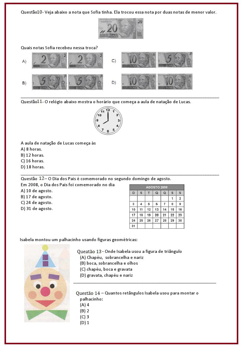 Populares Avaliação de Matemática – 4º ano | Sala de Aula – Profª Rérida  SL09