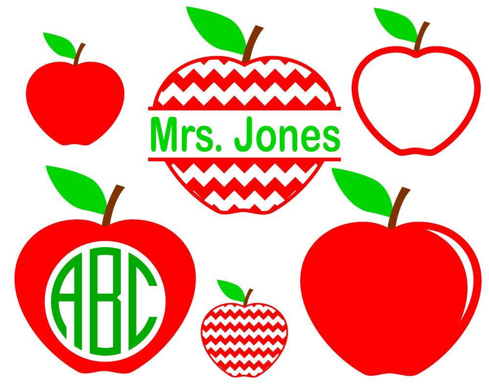 Svg Apple Monogram Frame Round Monogram Frame Split Monogram For Cricut And Silhouette To Make Gifts For Teachers Apple Template Monogram Frame Apple Images