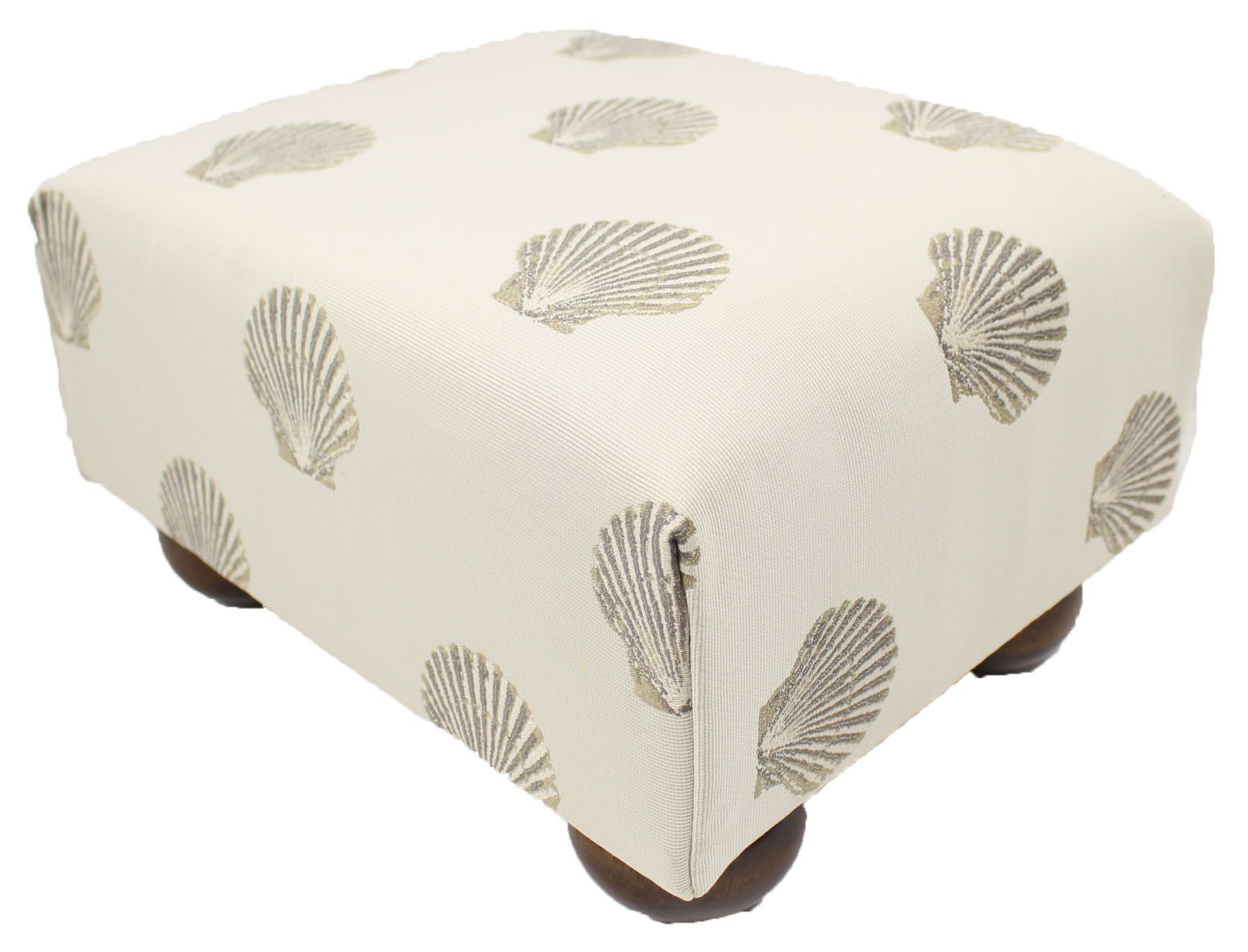 Sandstone And Shells Upholstered Fabric Footstool Ottoman