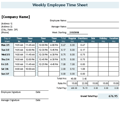 Free Time Sheet Template For Excel   This Timesheet Calculator Lets You  Enter Clock In/out Times And It Calculates The Total Hours.