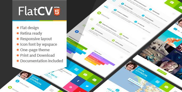 FlatCV - Resume  Portfolio  HTML5 - wordpress resume template