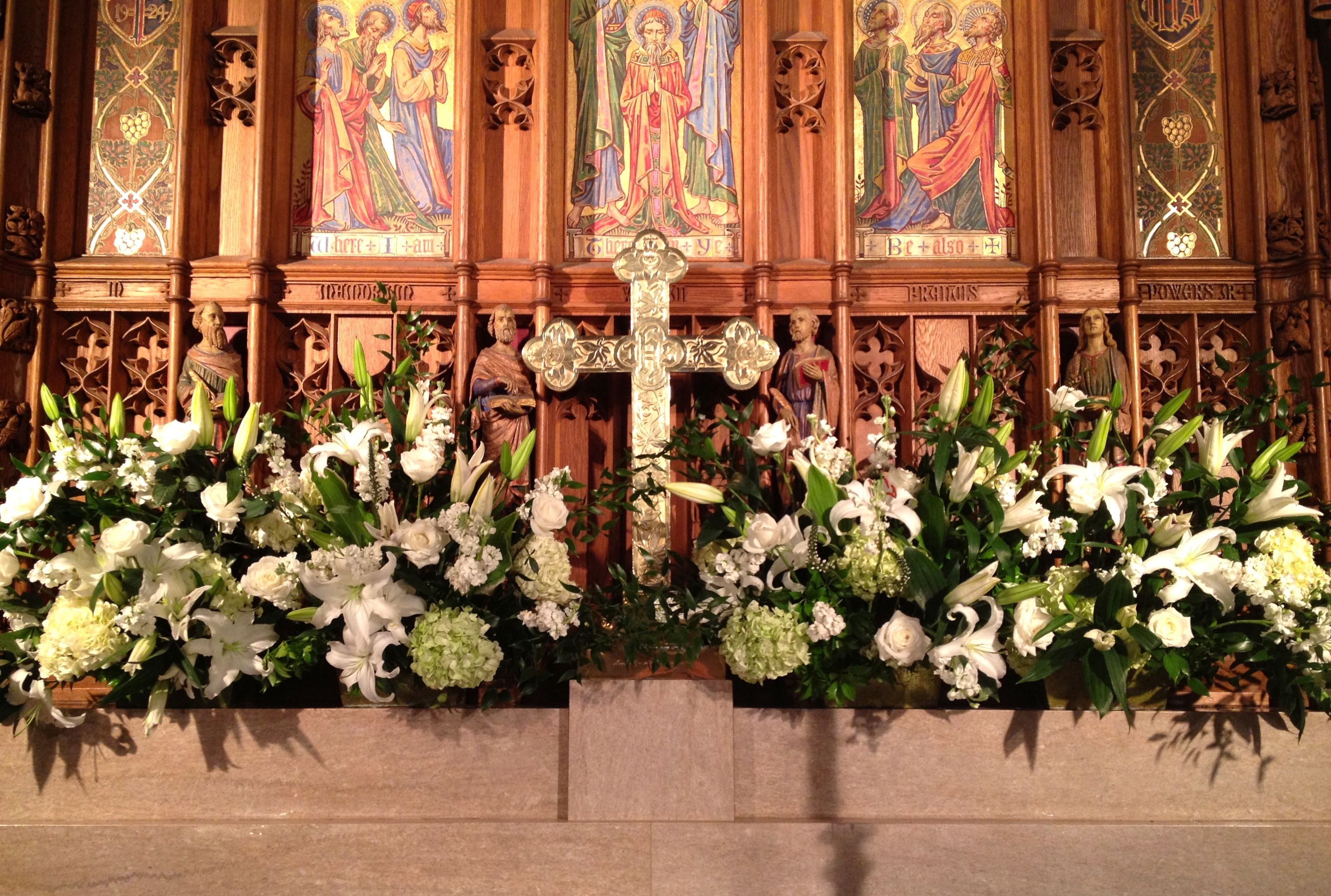 Altar Burgundy And White Flower Arrangements For Church