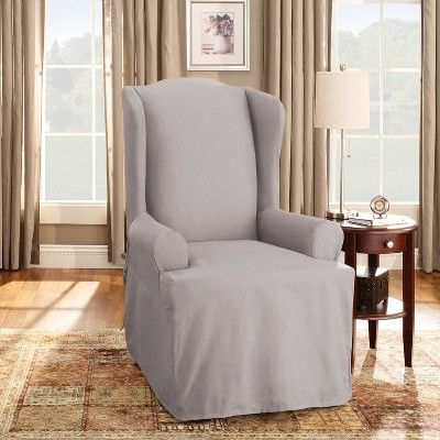 Phenomenal Cotton Duck Wing Chair Slipcover Light Gray Sure Fit Gmtry Best Dining Table And Chair Ideas Images Gmtryco
