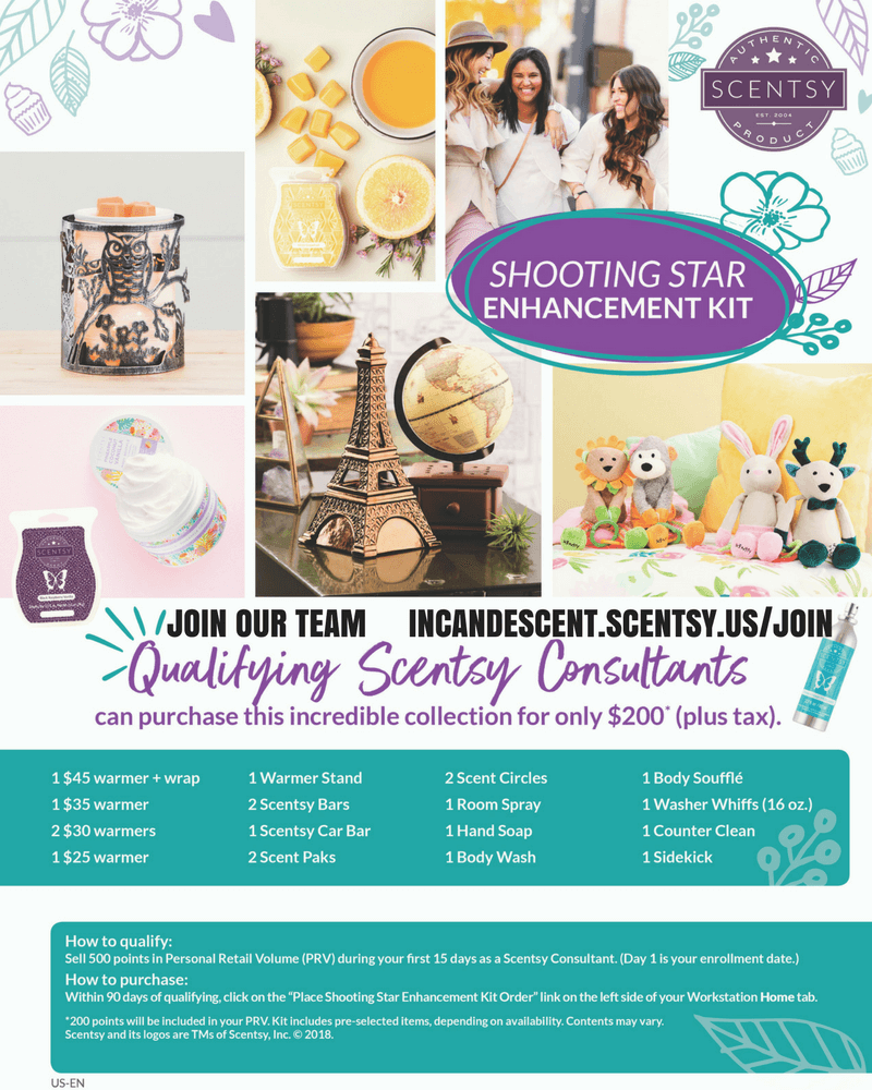 SCENTSY SHOOTING STAR ENCHANCEMENT KIT FOR SPRING SUMMER