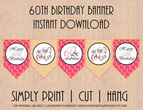 60th birthday banner classy pink orange garden floral and stripes by