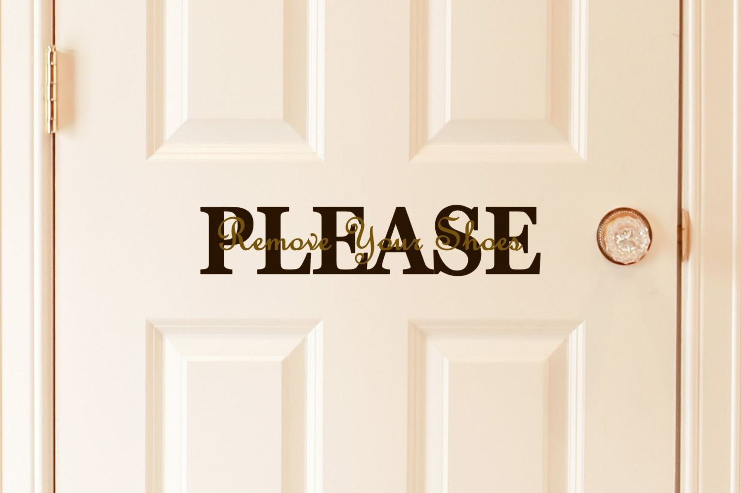 Please Remove Your Shoes Vinyl Door Decal Door Decal Custom - Custom vinyl decals for wood   removal options