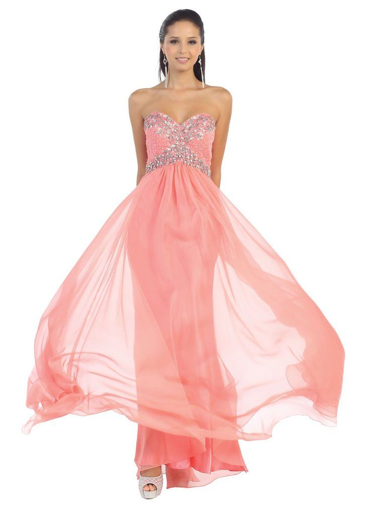 Long Strapless Chiffon Plus Size Prom Formal Party Dress - The Dress ...