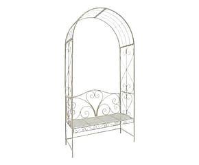Divanetto con arco in metallo Viareggio bianco - 116x230x47 cm