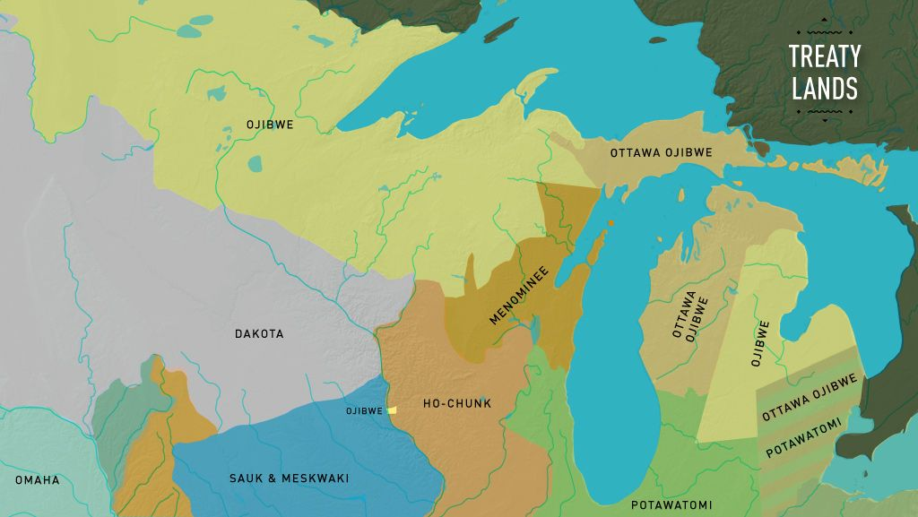 This interactive map shows American Indian treaty lands 1825