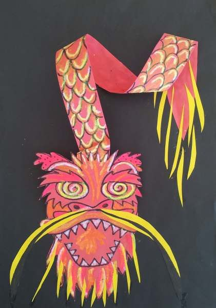 dreampainters (2012): Year of the Dragon. Color Sticks and cut paper.
