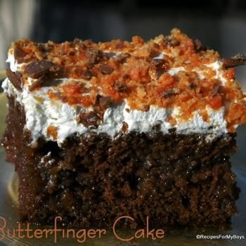 My husband needs this for his birthday cake! Butterfinger Cake