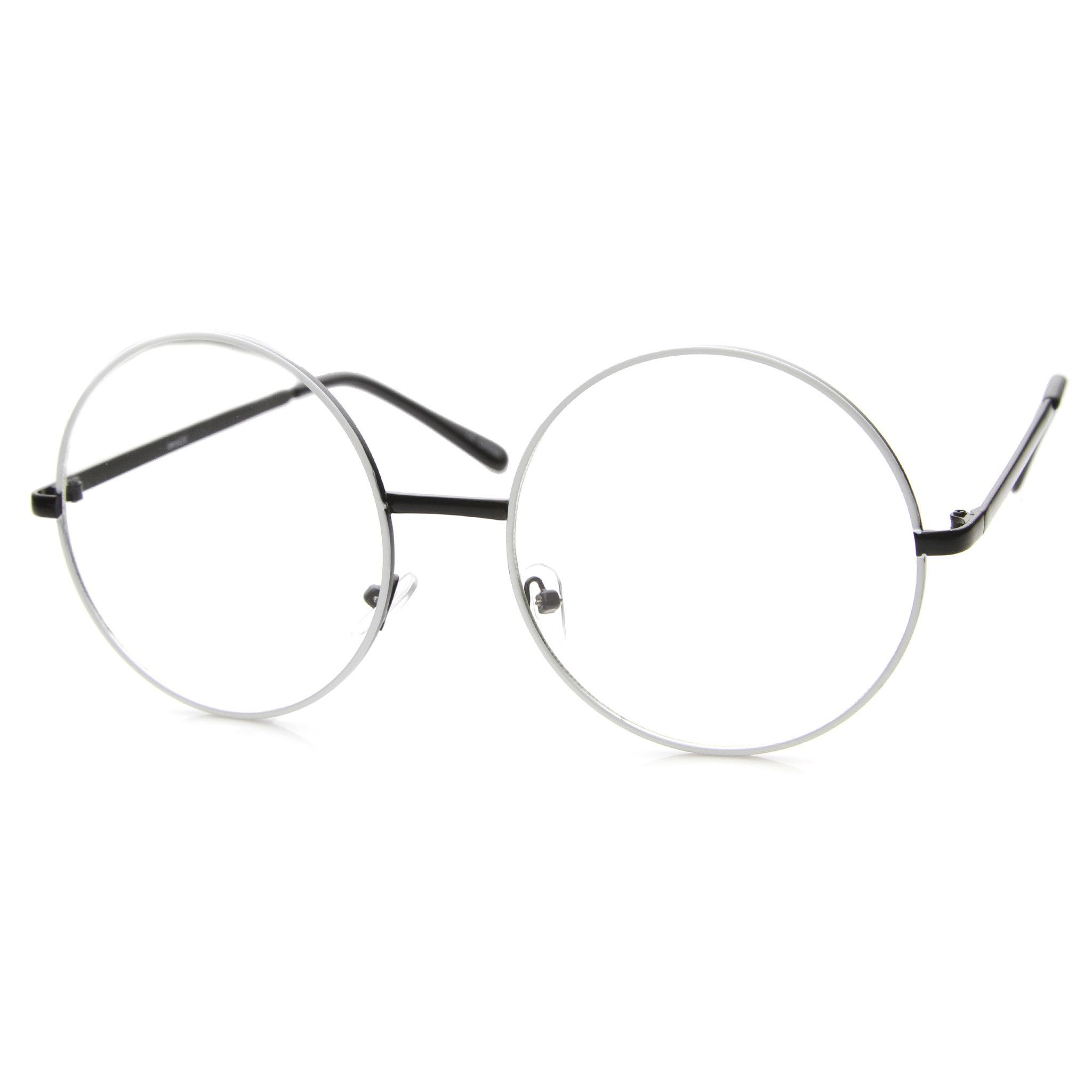 1fe8a38861f0 Large oversize round circular glasses that features a metal frame and clear  lenses. Round glasses are the very definition of an oversize metal circle  frame.