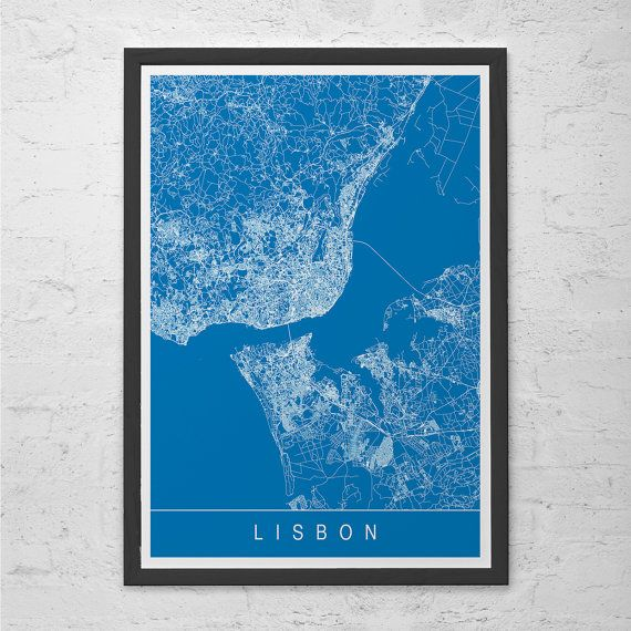 LISBON MAP PRINT Line Art City Map Lisbon Portugal Map Art - Portugal map to print