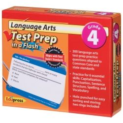 Language Arts Test Prep in a Flash, Prep Flash Cards (Reading, Language Arts, and Math available)