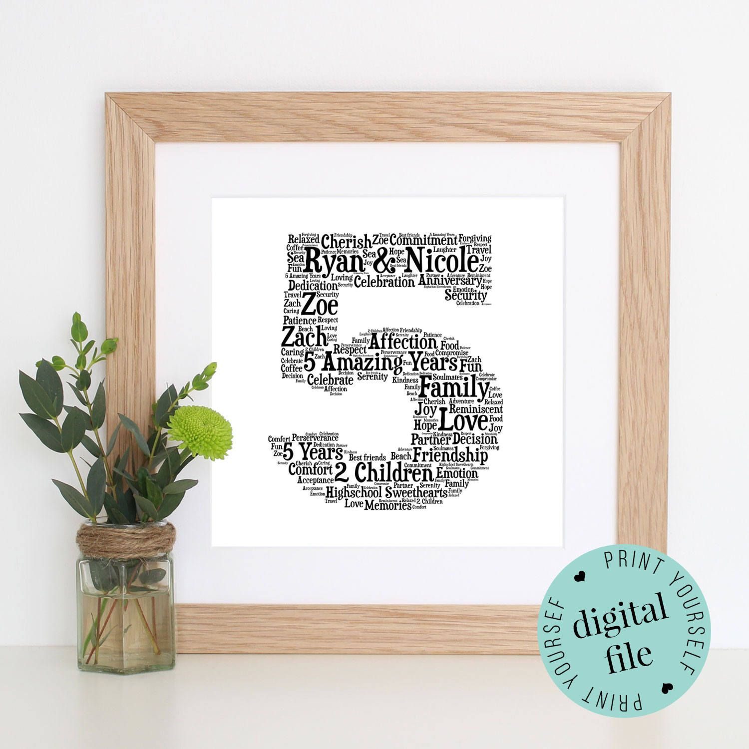 5th Anniversary Gift Word Art Printable Gift Framed Print 5