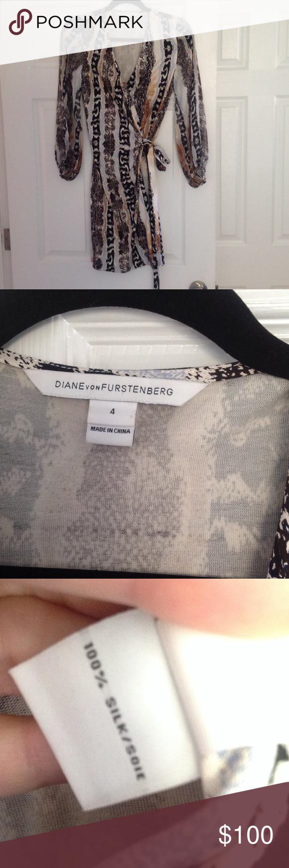 Diane Von Furstenberg wrap dress 100% silk Like new.  Beautiful sheer sleeves. Diane von Furstenberg Dresses Long Sleeve