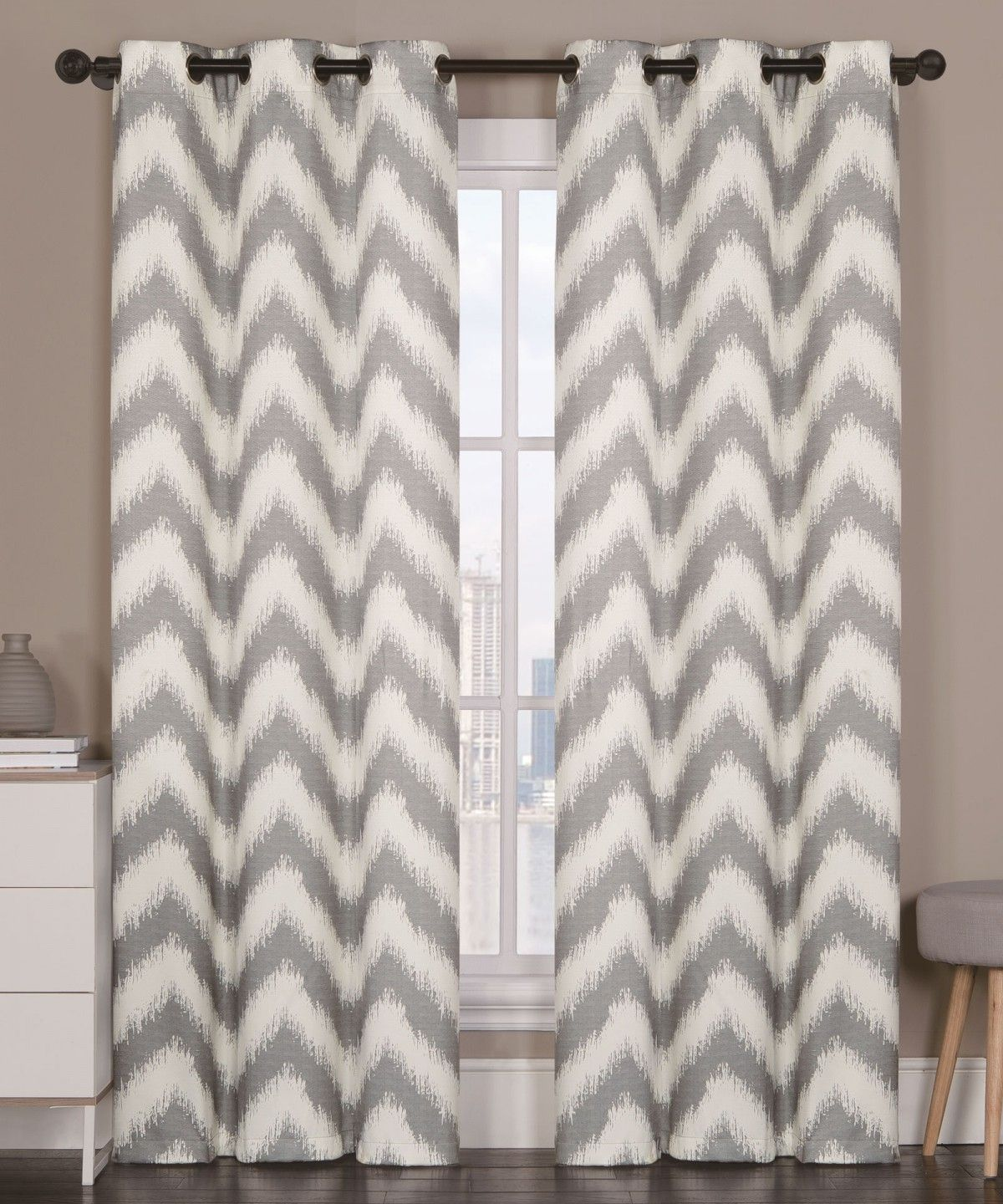Vcny Athens Blackout Window Curtains Grommet Thermal 2 Panel Set Gray Chevron 84