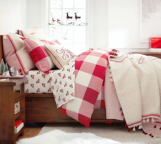 Buffalo Check Duvet Cover Amp Sham Cherry Ivory Potterybarn Christmas Bedroom Christmas Bedding Pottery Barn Bedding