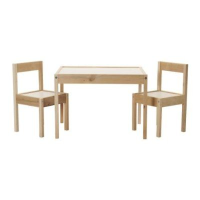 IKEA Children's Kids Table & 2 Chairs Set Furniture (1)... I wonder if Greg or Wesley could make something like this for Kinsler... ? I like the round table option