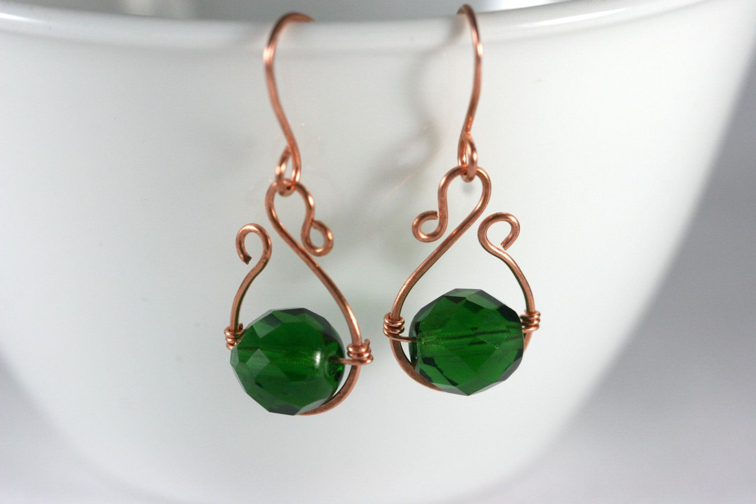 Green Earrings Wire Wrapped Jewelry Handmade Copper Earrings Copper ...