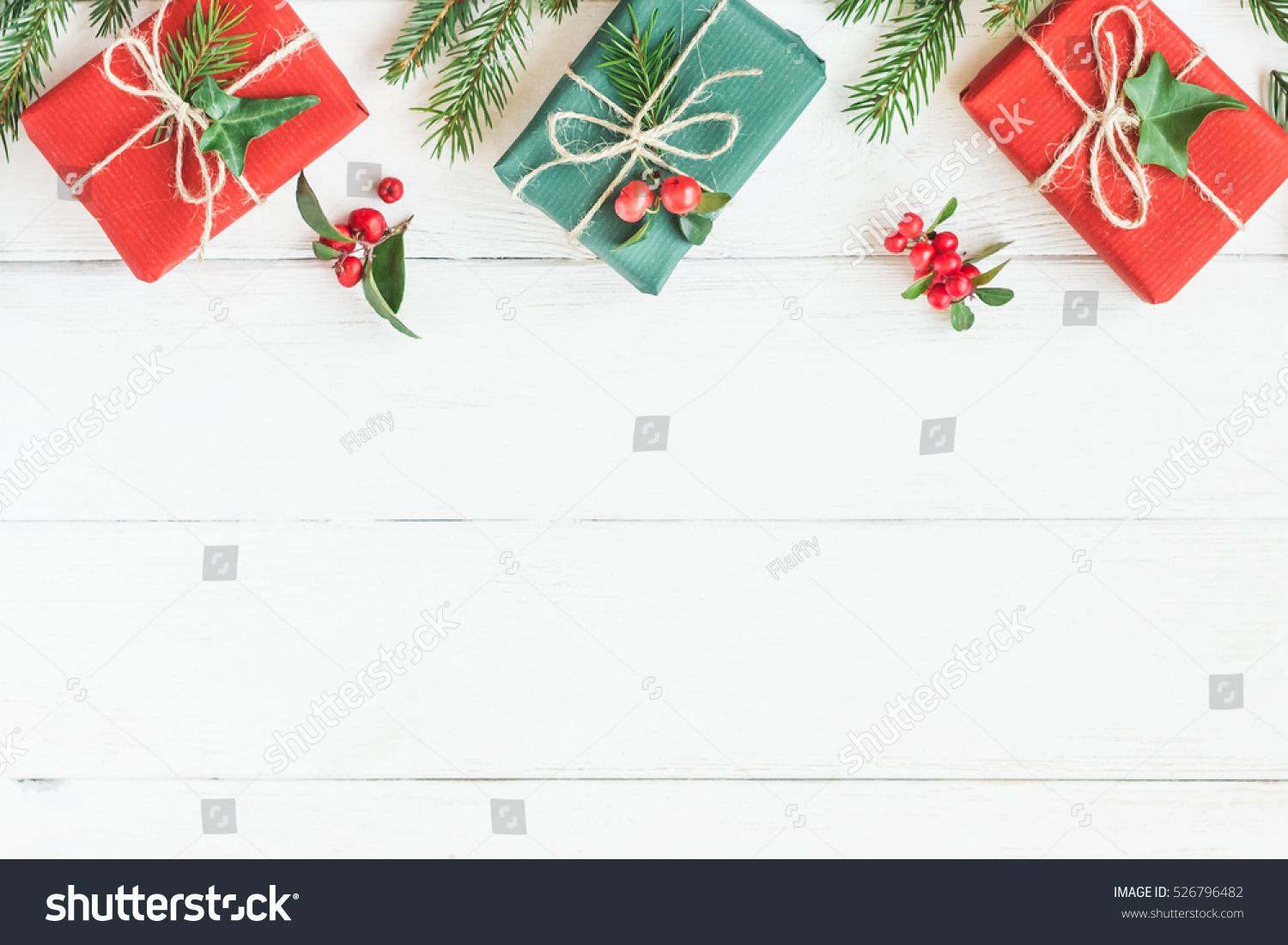 Christmas Top View.Christmas Border Christmas Gifts Fir Branches On Wooden