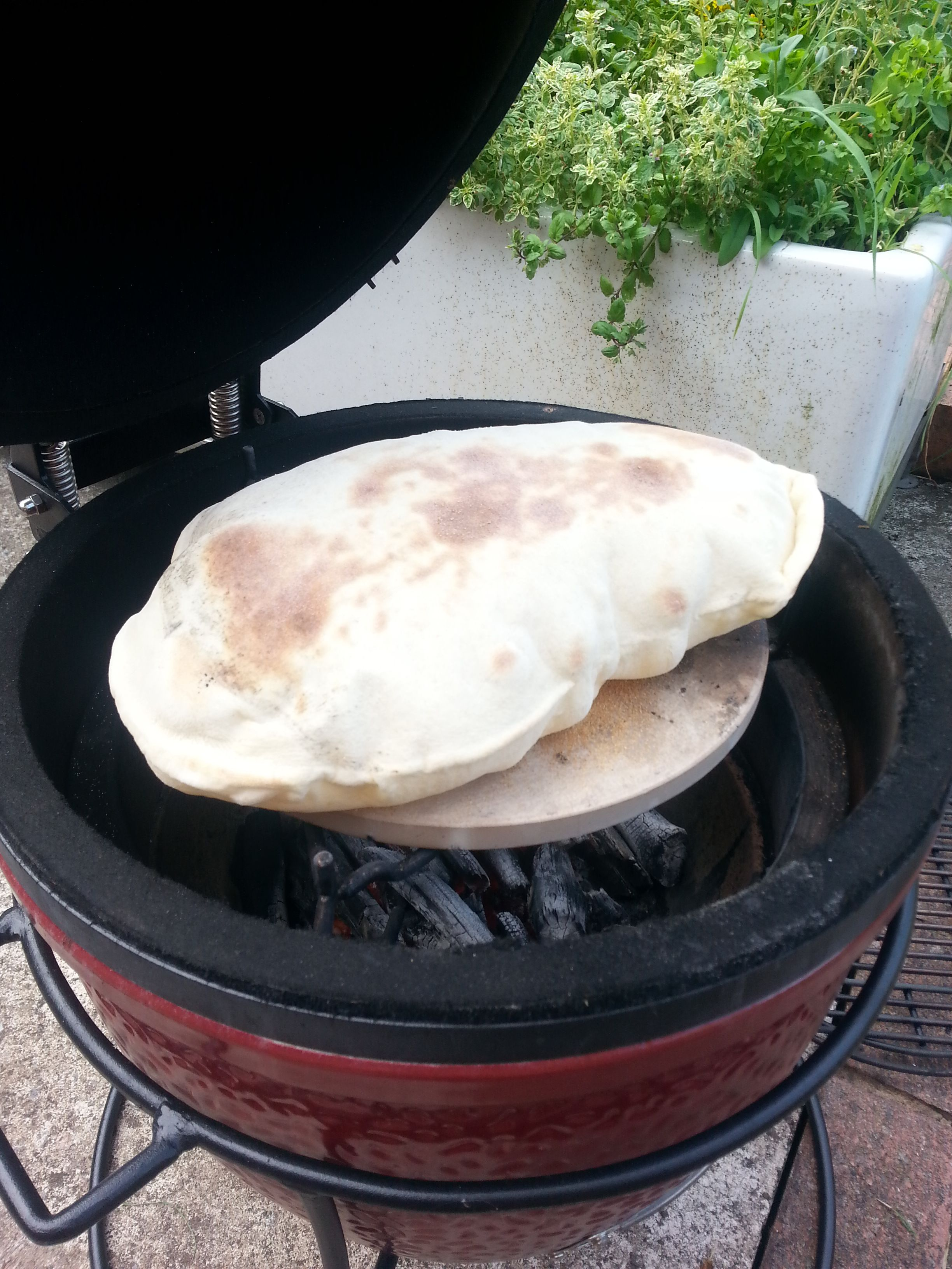 pitta breads cooked on the kamado joe