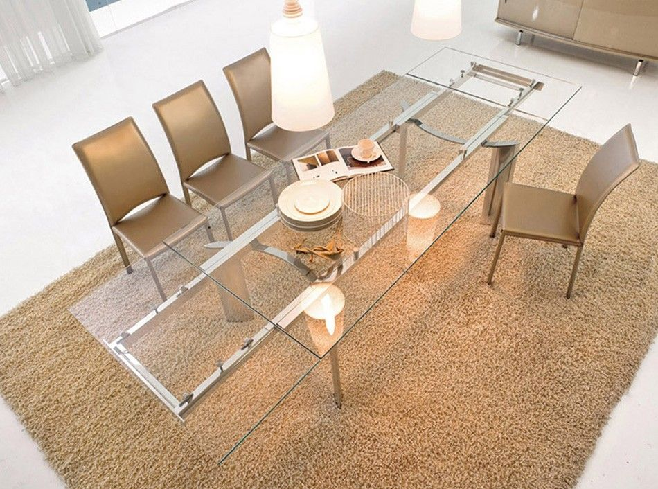 Glass Top Dining Table Arcos With Extensions By Tonin Casa Italy