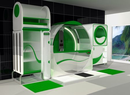 Concept bathroom for physically handicapped individuals. The center ...