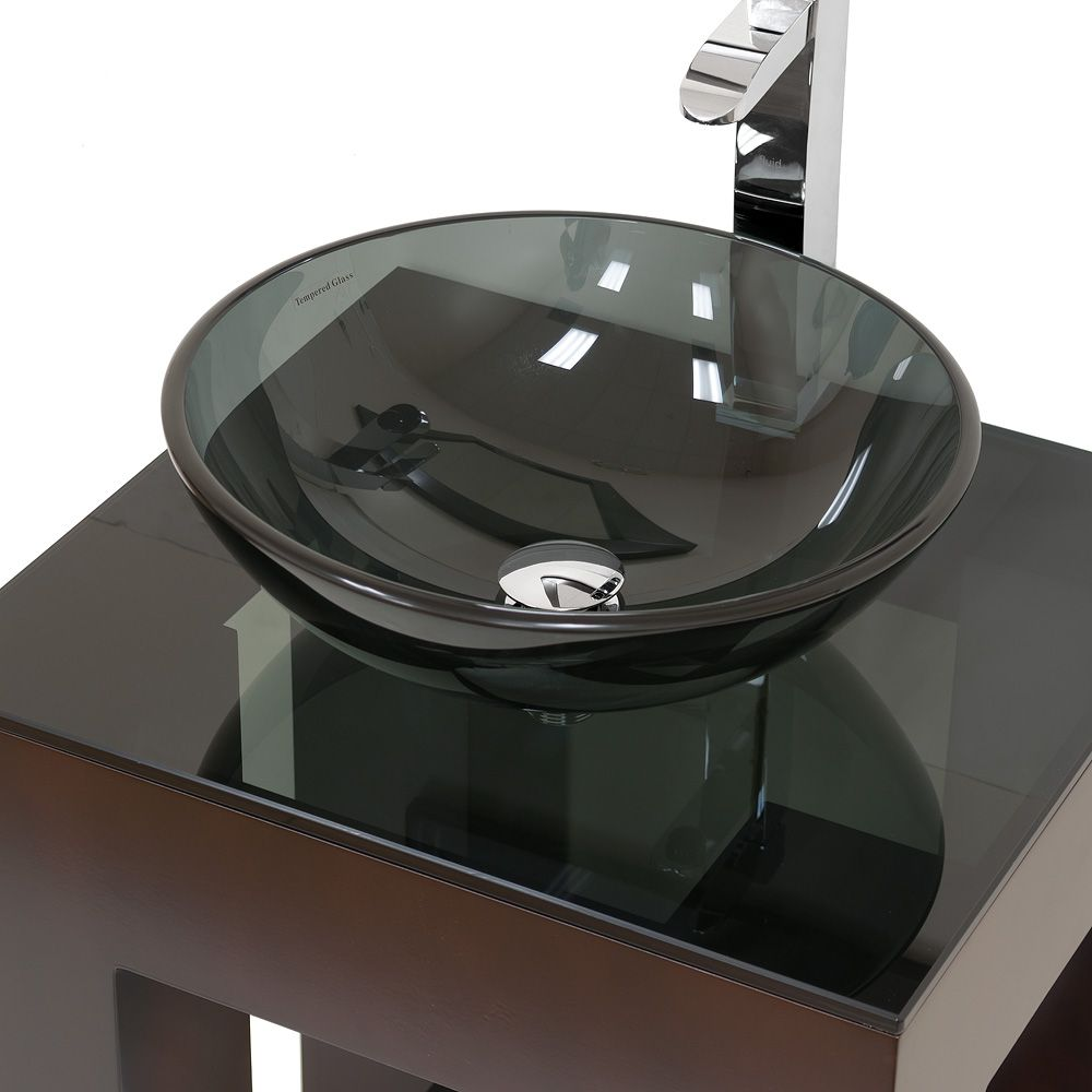 Perfect Bathroom, : Fantastic Small Bathroom Decoration Using Square Bathroom Vanity  Along With Black Glass Vessel Sinks And Black Glass Square Vanity Tops