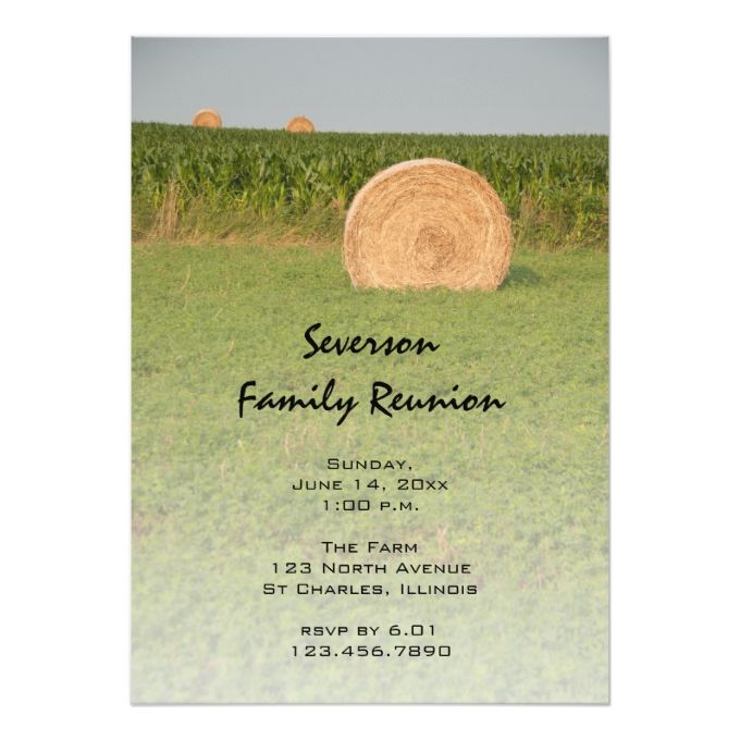 Country Hay Bales Family Reunion Invitation  Family Reunion