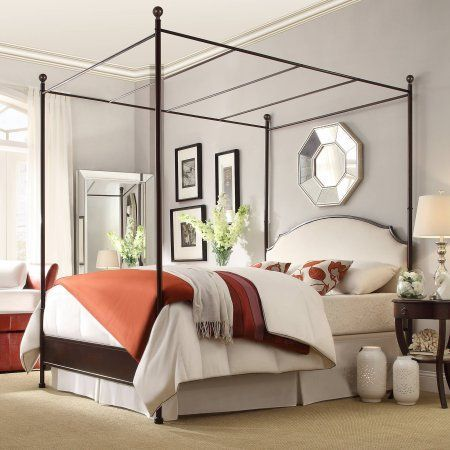 Weston Home Swindon Antique Bronze Metal Canopy Bed Multiple Sizes White Metal Canopy Bed