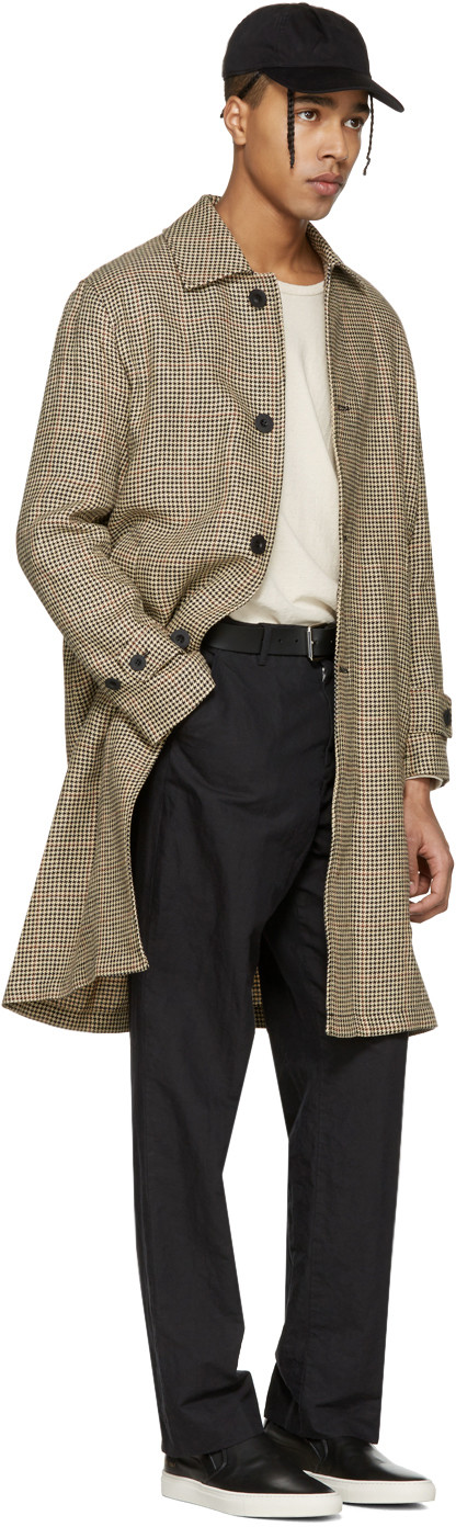 Beige Houndstooth Classic Car Coat | Houndstooth