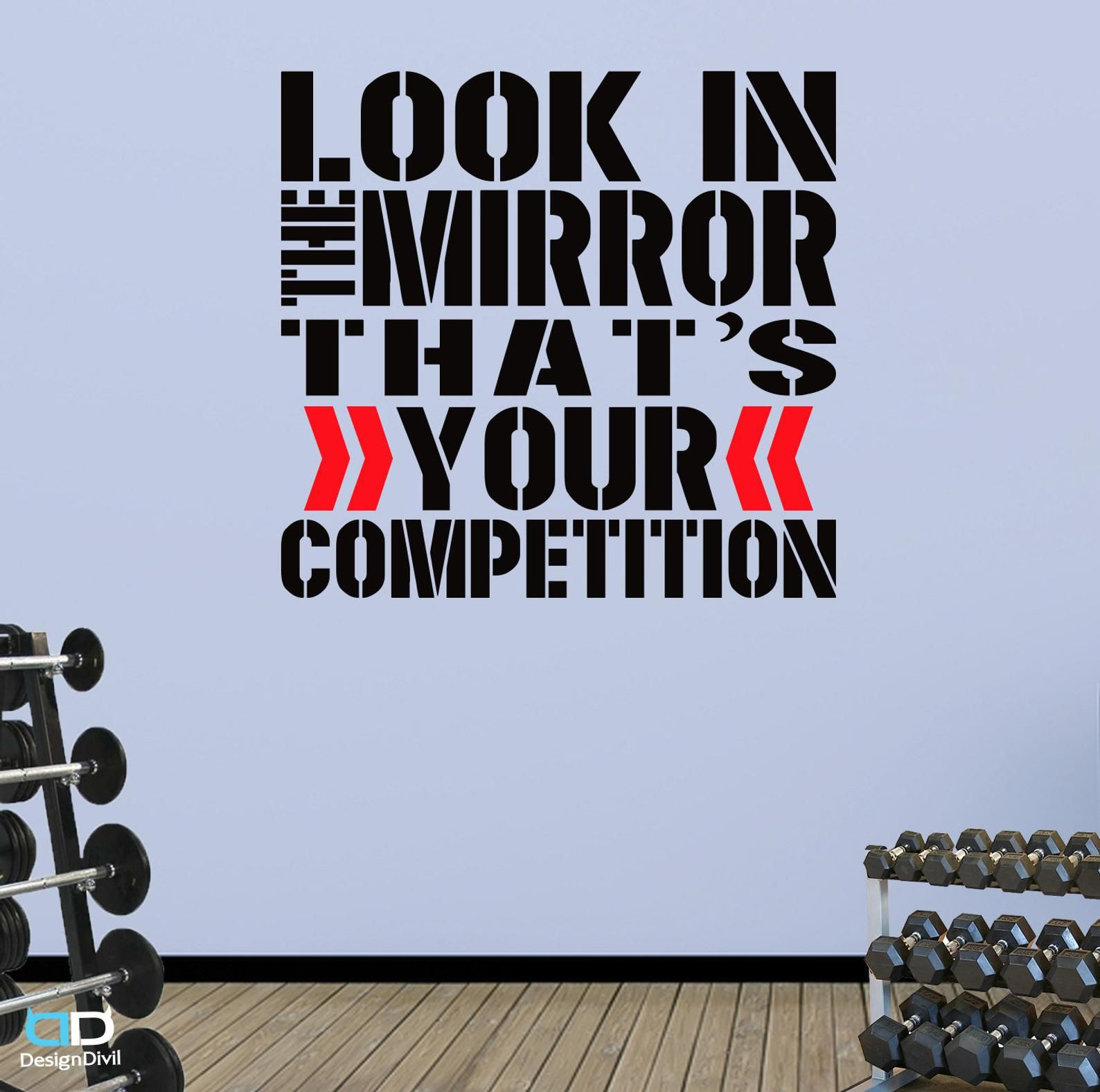 Look In The Mirror Word Square Wall Fitness Decal Quote For Gym