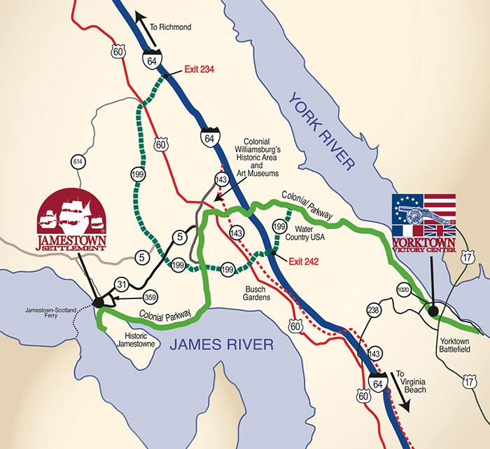 Map and directions to Jamestown Settlement and Yorktown Victory
