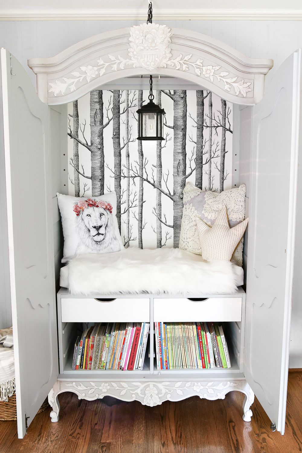 Diy Narnia Wardrobe Reading Nook  Blesserhouse  A Plain, Thrifted  Armoire Gets A Sweet, Fairytalelike Makeover As A Reading Nook Based On  The Story