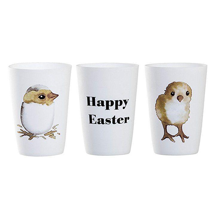 Bloomingville Teelichthalter Happy Easter (3er Set) Osterdeko, Osterhase,  Tischdeko Ostern Dekoration Osterdeko