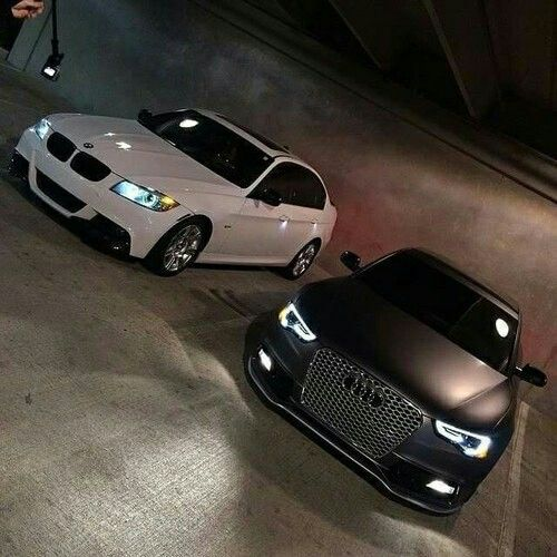 White BMW & Matte Black Audi, my future garage, my bucket list, future cars, goals