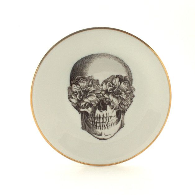 A unique, altered +vintage plate+ with a *sugar skull* drawing inspired of the day of the dead that takes place in Mexico.  The color of the…