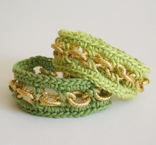 DIY crochet bracelets with chain, so easy and fast/ Pulseras a ...
