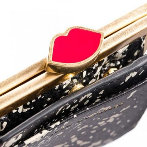 Top of Lulu Guinness floor print coin purse. Featuring Lulu lip shaped clasp with a red enamel inlay.